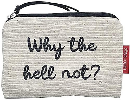 Hello-Bags. Bolso Monedero/Billetero/Tarjetero. Algodón 100%. Modelo: WHYTHE. Blanco. con Cremallera y Forro Interior. 14 * 10 cm. Incluye Bonito sobre Kraft de Regalo.