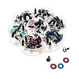 perfk 70 Stück 10mm blinkende Kristallaugen Sicherheitsaugen Eulenaugen mit Glitter Vliesstoffe und klaren Unterlegscheibe