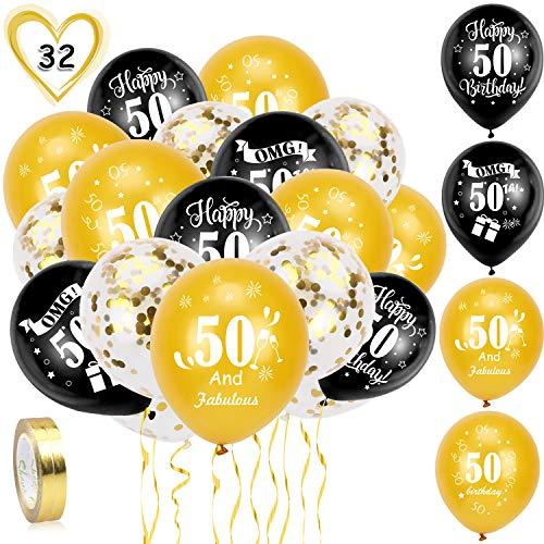 HOWAF 50. Geburtstag Luftballons, 30 Stück Schwarz Gold 50. Geburtstags Deko Ballons Latex Konfetti Luftballons & 2 Bänder für Männer Frauen 50. Geburtstag Party Dekorationen - 12 Zoll (Alter 50)