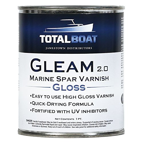 TotalBoat Gleam Marine Spar Varnish, Gloss and Satin Polyurethane Finish for Wood, Boats and Outdoor Furniture (Clear Gloss Pint)