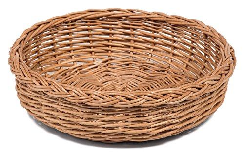 Prestige Wicker Round Bread Display Basket, Wicker, Natural, 35 x 35 x 10 cm