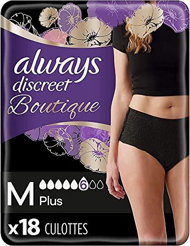 Always Discreet Boutique, Culottes Pour Fuites Urinaires / Incontinence Noires, Taille M, 6 gouttes, Format Eco x18 (2 packs de 9 unités) (plusieurs couleurs disponibles)