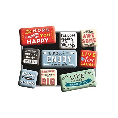 Nostalgic-Art 83111 Retro Kühlschrank-Magnete Word Up – Enjoy Life – Geschenk-Idee für Nostalgie-Fans, Magnetset für Magnettafel, Vintage Design