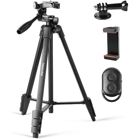 Hemmotop スマホ 三脚 GoPro ミラーレスカメラ対応 全高136cm ミニ三脚 4段階伸縮 さんきゃく 軽量 カメラ三脚 3WAY雲台 360回転 収納袋付き iPhone等対応 3脚 アルミ製