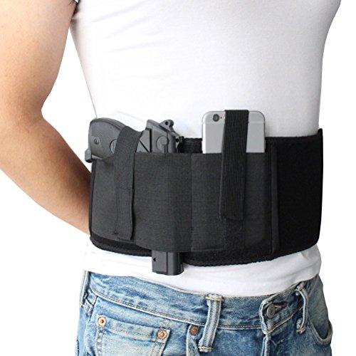 NIANPU Funda de Pistola de Banda de Vientre elástico Negro, con Bolsillo de Revista y 2 Correas elásticas para Gun | para Hombres y Mujeres