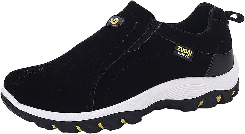 USYFAKGH Men's Solid Color Round Toe Running Walking Sports Walking Slip On Shoes Womens Walking Sneakers