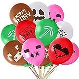 FEPITO 30Pcs Miner Party Balloons 12'Globos de látex para favores de fiesta de cumpleaños de jugador, 10 patrones diferentes