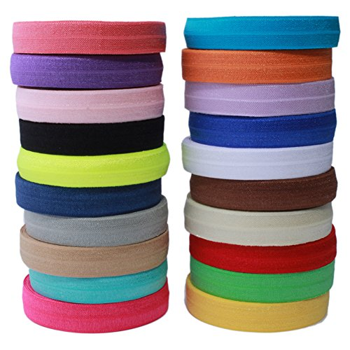 Masokan Solid Color Sewing Fold Over Elastic Stretch FOE and Foldover FOE Trim Elastic Ribbon by the yard for Hair Ties Headbands (5/8 inch, 1.5 cm, 20 Yards, Mix 20 Colors)