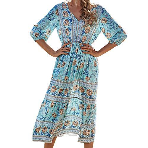 Kobay-Damen Frühling Sommer komfortabel Hautfreundlich Damenkleid Blumendruck V-Ausschnitt Fashion Holiday Style Kurzarmkleid