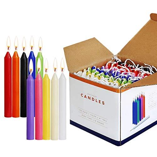 Joocyee - Velas cónicas de 100 Piezas, sin Perfume, Colores Surtidos, Mini Velas para emitir carillón, Cera Colorida sin Humo e Inodoro para cumpleaños, como se Muestra