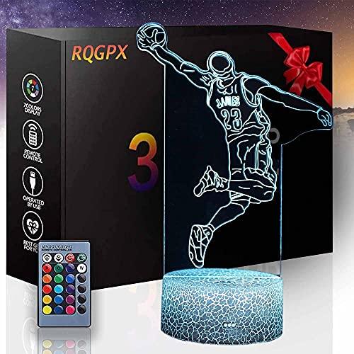 Lámpara de ilusión 3D, amantes del baloncesto, luz nocturna 3D, para niños, 16 colores que cambian con control remoto, cumpleaños y vacaciones, un regalo para niños y niñas