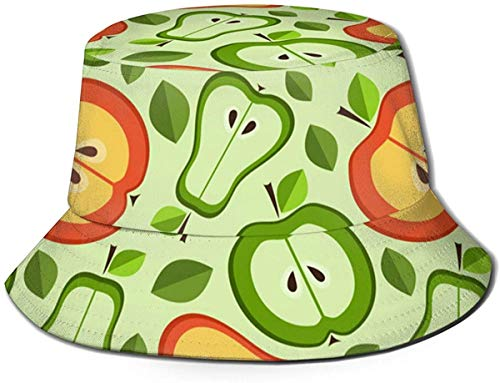 Sombrero de Cubo de Viaje de Helado Unisex Gorra de Pescador de Verano Sombrero de Sol-Manzana y Pera