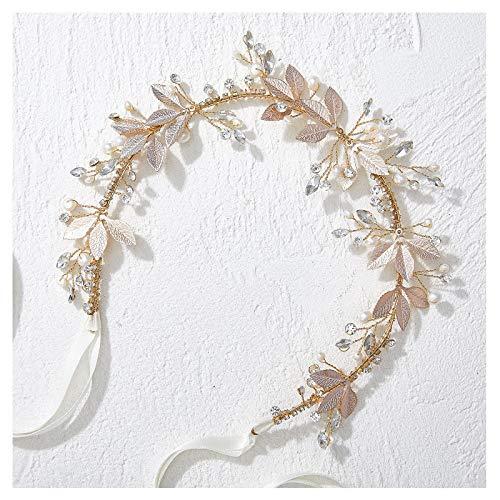 SWEETV Gold Blättriges Hochzeit Stirnband Crystal Hair Vine Handgemachte Braut Kopfbedeckungen Hochzeit Haar Zubehör für Braut Blumenmädchen