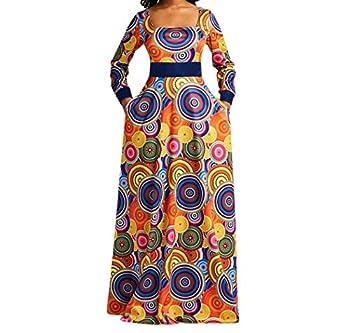 VERWIN Square Neck Print Long Sleeve High Waist Geometric Evening Dress Color Block Wrap Maxi Dress L