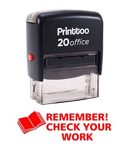 Printtoo REMEMBER CHECK YOUR WORK zelfkleurig stempel kantoor stationair bedrukte postzegel- inkt kleur beschikbaar CHECK 14 mm x 38 mm (ungefähr) rood