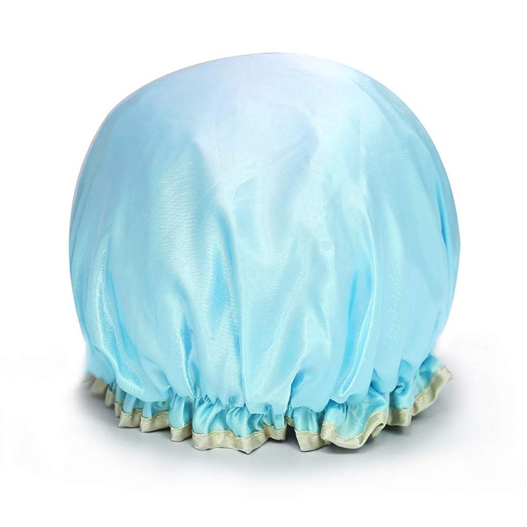 診療所土曜日石灰岩Yushulinfeng シャワーキャップダブル防水シャワーキャップお風呂シャワーキャップシャンプーキャップかわいい帽子キッチンレディアンチヒュームキャップヘアカラーキャップ (Color : Lake blue)