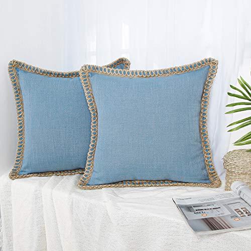 Topfinel 2 Juegos Funda de Cojín de Decoración Vintage Rota Natural Azul de Lino Almohada para Silla Oficina Sofá Domicilio Jardín 45x45cm