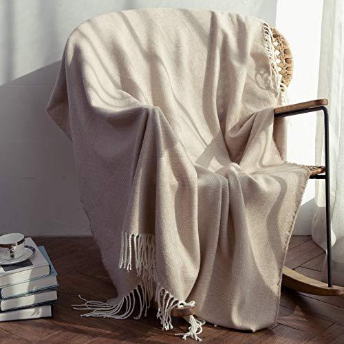 Kuscheldecke mit Fransen Wohndecke Tagesdecke für Überwurfdecke Sofadecke/Couchdecke Sofaüberwurf Decke 130x152cm