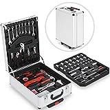 Werkzeugkoffer Set | 383 Teilen, Alukoffer mit 4 Ebenen, Silber | Werkzeugkasten, Werkzeugtrolley Werkzeugkiste, Qualitätswerkzeug, Werkzeug-Set, Reparaturwerkzeuge