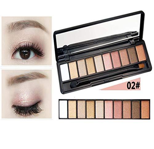 HUAZJ Cosmetics 10 Couleur Fard à paupières Nude Maquillage Couleur Fard à paupières en maculant la Brosse à Cassette pour Les Yeux Sumi Mat Permanent, B