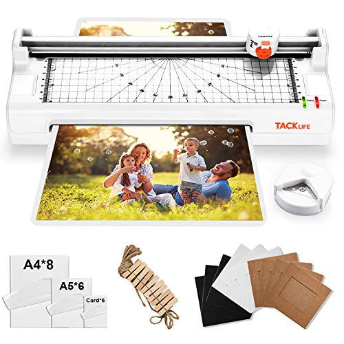 Laminator, A4 Thermal Laminating Machine with 2 Roller Systems, 5 in 1 with Corner Rounder, 20 Pouches, Photo Frames Set, Paper Trimmmer - MTL02