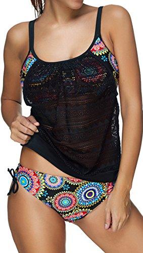 EUDOLAH Damen Padded Bikini-Set Streifen zweiteilig Swimwear Beachwear (Large-EU 40, A-Sonnenblume)