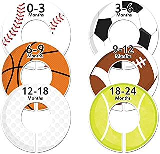 C47 Sports Baby Closet Size Dividers Boy Set of 6 Fits 1.25 Inch Rod