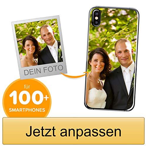 Coverpersonalizzate.it Handyhülle für Apple iPhone XS mit Foto-, Bildern- oder Text selbst gestalten- Die Handyhülle ist aus weichem transparentem TPU-Silikon-Gel Material