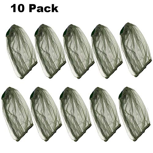 SUNTRY 10 Pack Premium Mosquito Head Net with Extra Fine Holes, Lightweight Face Mesh Neck Cover Netting Mesh Net, No-See-Ums and Midges, Perfect for Outdoor Activities (Green)