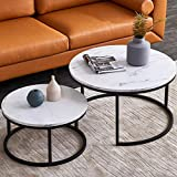 Modern Nesting Coffee Tables Set for Living Room, Office, Balcony, Modern Round...