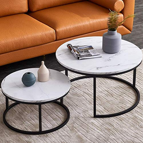 Modern Nesting Coffee Table Set for Living Room, Office, Balcony, Modern Round WoodAccent Coffee MDF Faux Marble Tabletop w/Black Color Frame, Easy Assembly- Set of 2