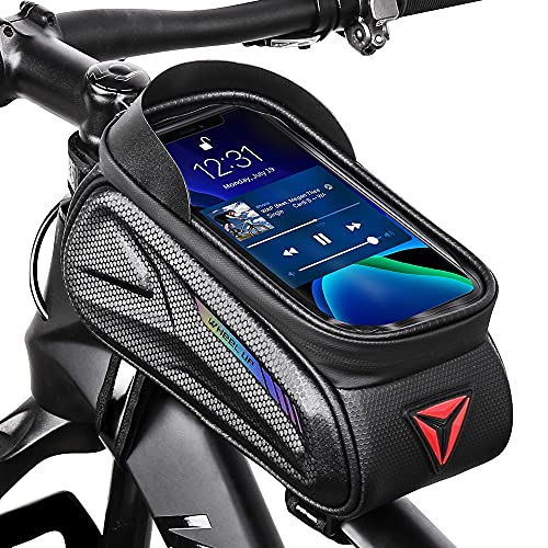 "Bike Phone Bag, Bicycle Top Tube Frame Bag with Phone Holder Waterproof Fits 7.5"" Touchscreen"