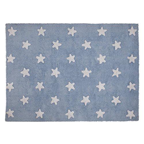 Lorena Canals–Alfombra para bebé (lavable azul estrellas/blanco)