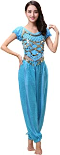 Janjunsi Women Belly Dance Outfit Costume Halloween Carnival Dancing Clothes Indian Dance Performance Clothes Top + Pants