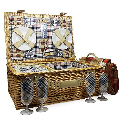 Der \'Grosvenor\' Picknickkorb für 4 Personen mit integriertem Kühlfach und Picknickdecke - Die Ideale Geschenkidee zum Geburtstag, Hochzeit, Ruhestand