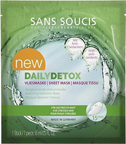 Sans Soucis Dailydetox vliesmasker: gezichtsmasker met fruittextracten en vitaminen, regenereert gestresste huid, beschermt tegen vrije radicalen, veganistisch