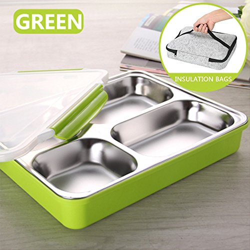 Stainless Steel Adults Lunch Bento Box Leak Proof Container with Portable Insulation Bags for Outdoor/Picnic/School/Office, Green
