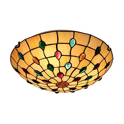 HWJF Contador de lámpara de Noche Dormitorio de la lámpara de Tabla de Tiffany vidrieras Retro Creativa salón lámpara de Mesa de Restaurante del Hotel Decorativa iluminación Interior E27 MAX.40 W,I