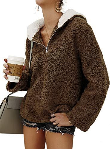 Colisha Sudadera con capucha y capucha para mujer, con cuello y cremallera