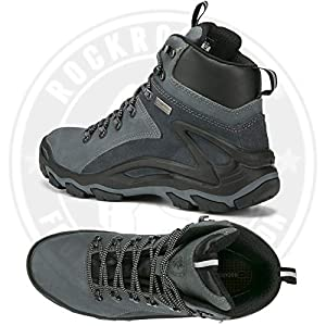 ROCKROOSTER Mens Hiking Boots, Waterproof 6'' Non Slip Outdoor Mountaineeting Shoes, Ankle, Coolmax, Lightweight, Breathable, Anti-Fatigue,(KS258 Grey, 14)