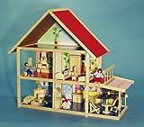 GROßES PUPPENHAUS mit Balkon, Markise, Terasse und abnehmbarem Dach, Puppen und Möbel