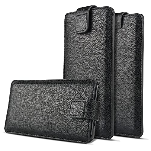 Realtech Leather Anti Theft Cellphone Mobile Pullup Pouch with Wallets Magnetic Cover for Redmi Note 10S - Black