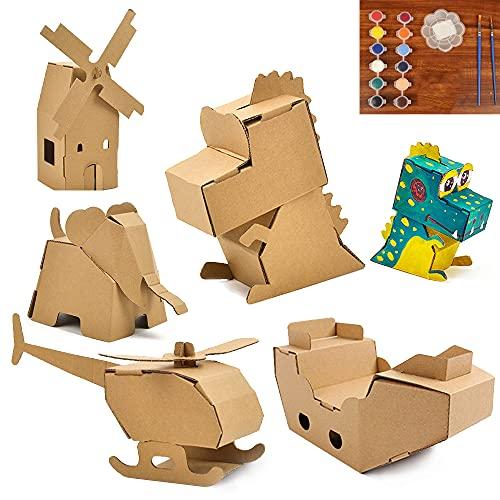 3 Piezas Origami Juego, ZoneYan Origami Animales de Papel, Kit de Origami para Niños, Juguetes de Carton, Papercraft 3D, Graffiti de Bricolaje, Estilo Aleatorio, con 3 Juegos de Pintura