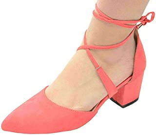 Chase & Chloe Women's Pointed Toe Crisscross Lace-Up Ankle Tie Chunky Block Mid Heel Pump