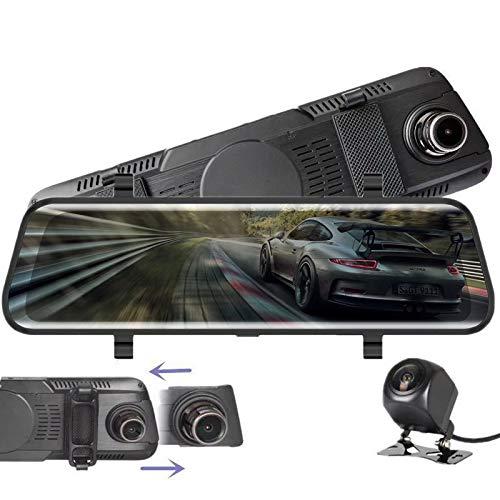 """Dashcam,VISGOGO Autokamera 10\"""" Zoll Touch Screen Dashcam Rückspiegel Full HD 1080P Weitwinkel Frontkamera und 720P Rückfahrkamera mit Nachtsicht, Parkplatz-Überwachung,Bewegungserkennung"""
