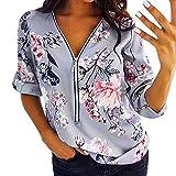 VEMOW Camisola Cremallera sin Mangas de Las Mujeres Chaleco Ocasional Top Blusa de Las señoras del Verano Flojo Camisetas(T Gris,M)