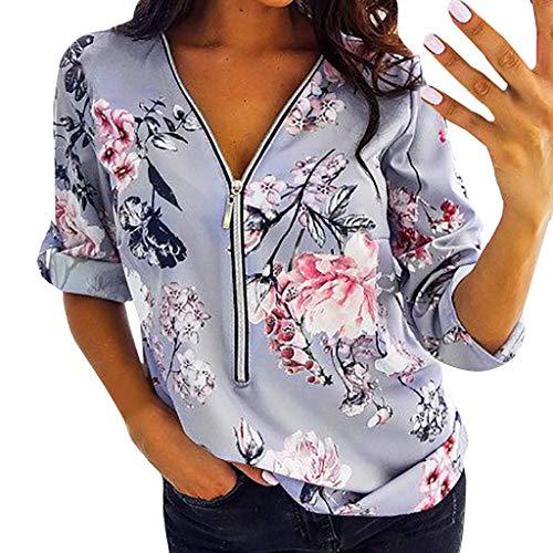 Berimaterry Damen Sexy V-Ausschnitt Oberteile Print Kurzarm Große Größe T-Shirt Tops Frauen Sommershirt Casual Lose Reißverschluss Halber Ärmel Tunika Bluse Shirts