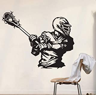 Ansyny ラクロスデカール家の装飾壁用ステッカーウォールステッカーギフトスティックラクロスプリントパーティーアートゲームルーム壁画53 * 42センチ