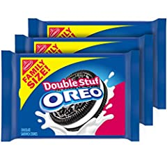 Three family size packs of OREO Double Stuf Chocolate Sandwich Cookies Chocolate wafer cookies stuffed with twice the OREO creme Bulk cookies in a convenient family pack are great for dessert recipes and lunches OREO bundle with three family packs so...