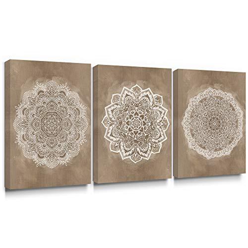 SUMGAR Mandala Mural Wall Art Impresiones en Lienzo Pintura de la Flor India Cuadro Floral de Boho Decoración de Color café café para Dormitorio baño Sala de Estar 30x40cmx3 Piezas